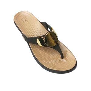 Crocs Sanrah Embellished Flip Flop Wedge Sandals